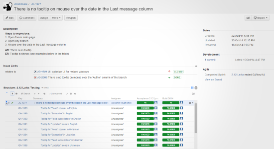 Structure with test runs in the JIRA issue details page