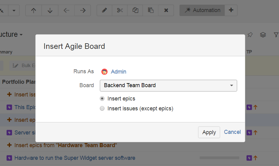 Insert your Agile board Epics