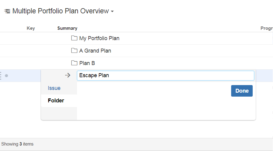 Create folders to contain your Portfolio plans