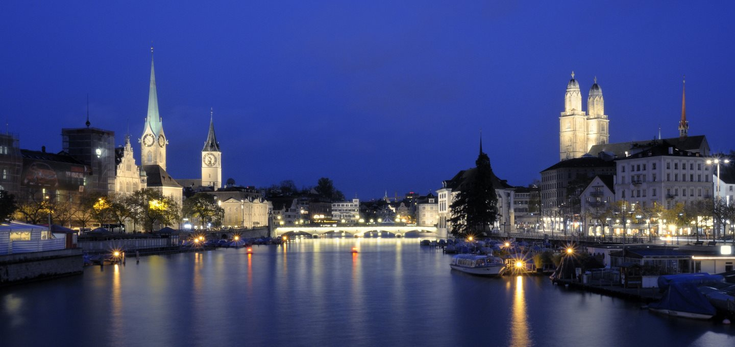 Zurich skyline at night