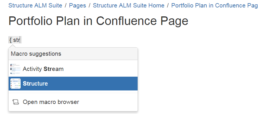 Adding the Structure macro to a Conlfuence page