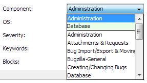 Administration and Database were recently selected — here they are, on the top