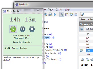 Time Tracking in Deskzilla