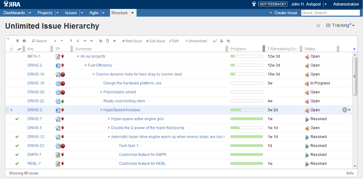 Features And Screenshots Structure Plugin For Jira Alm